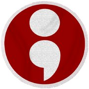 Semicolon 011 Round Beach Towel