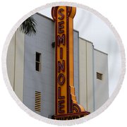 Seminole Theatre 1940 Round Beach Towel