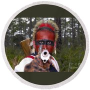 Seminole Warrior Round Beach Towel