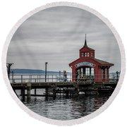 Seneca Lake Pier Round Beach Towel