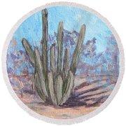 Senita Cactus Round Beach Towel