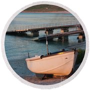 Sennen Cove Boat At Sunset Round Beach Towel