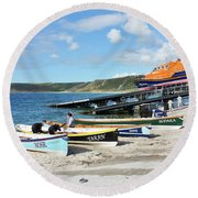 Sennen Cove Lifeboat And Pilot Gigs Round Beach Towel