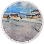 Sennen Cove Low Tide Round Beach Towel