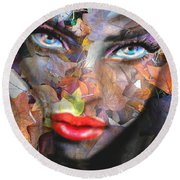 Sensual Eyes Autumn Round Beach Towel