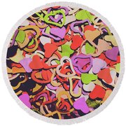 Sentimental Heart  Round Beach Towel