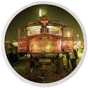 Sentinel Steam Bus By Night  Round Beach Towel
