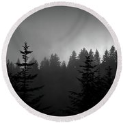 Sentinels In The Mist Round Beach Towel