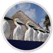 Sentry Pelicans Round Beach Towel