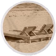 Sepia Chairs Round Beach Towel