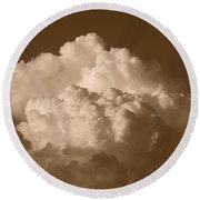 Sepia Clouds Round Beach Towel