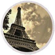 Sepia Eiffel Round Beach Towel