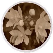 Sepia Flower Round Beach Towel