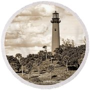 Sepia Lighthouse Round Beach Towel