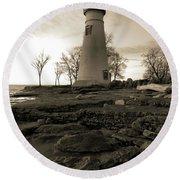 Sepia Marblehead Lighthouse Round Beach Towel