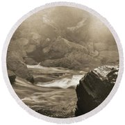Sepia Moody River Round Beach Towel