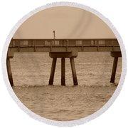 Sepia Pier Round Beach Towel