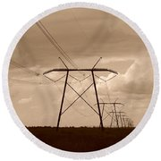 Sepia Power Round Beach Towel