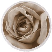 Sepia Rose Round Beach Towel