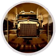 Sepia Toned Kenworth Abstract Round Beach Towel