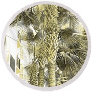 Sepia Toned Pen And Ink Palm Trees Round Beach Towel