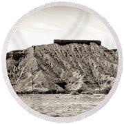 Sepia Tones Nature Landscape Nevada  Round Beach Towel
