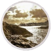September Clouds Round Beach Towel