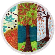 September October November Round Beach Towel