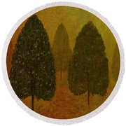 September Trees  Round Beach Towel