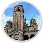 Serbian Orthodox Church Of Saint Mark Belgrade Serbia Round Beach Towel