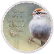 Serendipitous Sparrow - Quote Round Beach Towel