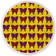 Serendipity Butterflies Brickgoldblue 26 Round Beach Towel