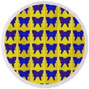 Serendipity Butterflies Brickgoldblue 27 Round Beach Towel