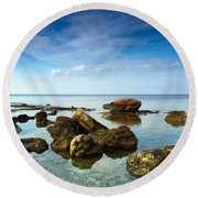 Serene Round Beach Towel by Stelios Kleanthous
