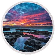 Serene Sunset Round Beach Towel
