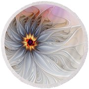 Serenely Blue Round Beach Towel