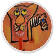 Serengeti Cat Round Beach Towel