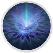 Serenity Abstract Fractal Round Beach Towel