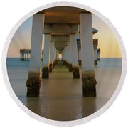 Serenity Under The Pier Round Beach Towel