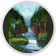 Serenity Valley Round Beach Towel