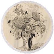 Sergey Vasilievich Chekhonin Russian 1878-1936 Flower Bouquet, 1935 Round Beach Towel
