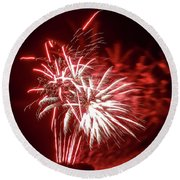Series Of Red And White Fireworks Round Beach Towel