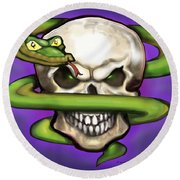 Serpent Evil Skull Round Beach Towel