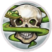Serpent N Skull Round Beach Towel