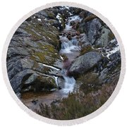 Serra Da Estrela Mountains And Waterfall Round Beach Towel