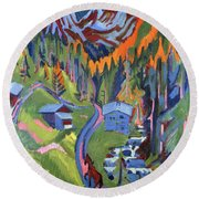 Sertig Path In Summer Round Beach Towel