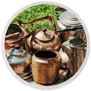 Set Of Ancient Teapots  Round Beach Towel