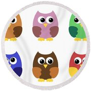 Set Of Six Little Owlets Round Beach Towel
