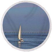 Setting Sail 2 Round Beach Towel