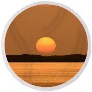 Setting Sun On Coastal Florida Round Beach Towel